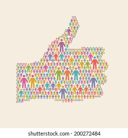 "Vector hand of thumbs up symbol of people colorful icon. Illustration with sign ""well"". Social media concept for web, print"