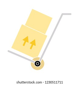 Vector Hand truck Symbol - shipping inventory icon. shipping Sign - warehouse container Isolated. delivery container Isolated
