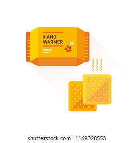vector hand warmers for winter season / flat, isolated, sign and icon template