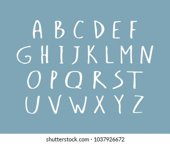 Vector hand writing type. Handwritten script, alphabet white letters set isolated on blue background. Handmade typography font for logo, posters, invitations, cards design. Ink brush lettering.