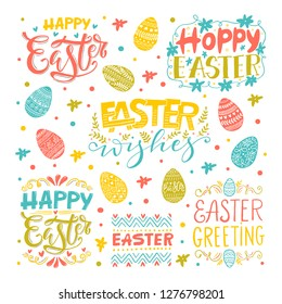 Vector Hand written Easter phrases .Greeting card text templates with Easter eggs isolated on white background. Happy easter lettering vintage calligraphy style.