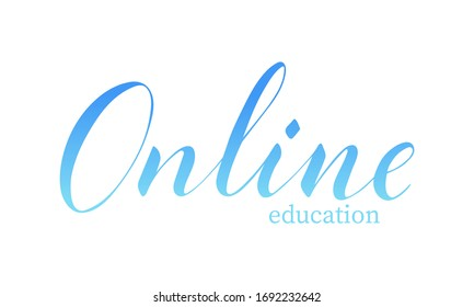 Vector hand written online education text isolated on white background. Shopping and delivery service. Script brushpen lettering. Handwriting for banner, poster, company label or logo