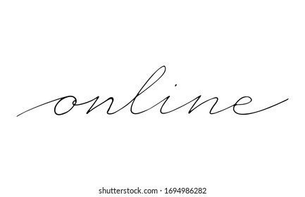 Vector hand written online text isolated on white background. Shopping and delivery service. Script brushpen lettering. Handwriting for banner, poster, company label or logo