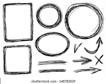 vector hand-draw frames with pencil texture