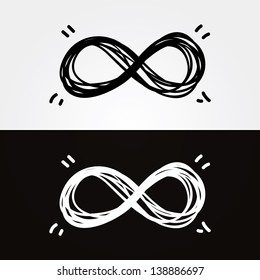 Vector hand-draw infinity. Infinity symbol, conceptual, iconic, symbolic elements for your presentation. Light and dark version.