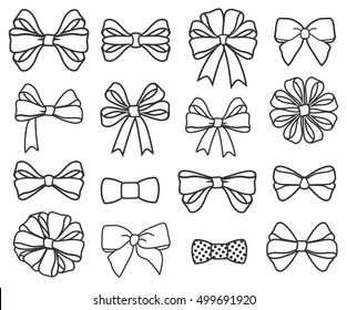 Vector hand-draw outline bows