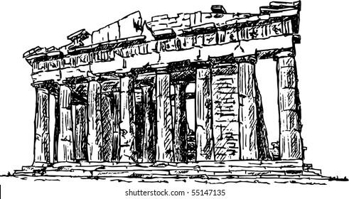 vector - handdraw Pantheon , Greece, isolated on background