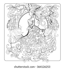 Vector hand-drawn adult-coloring book page in retro style with girl, floral ornaments and birds