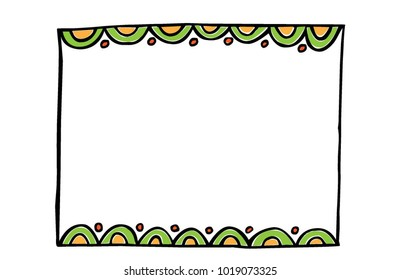 Vector Hand-drawn Black Marker frame; green and Yellow scallop edge with fun, doodle Scallop frame with graphic element, picture frame, Funky Border.