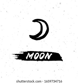 """Vector handdrawn brush ink illustation of the moon sign with lettering """"moon"""". Horoscope signs, magic symbols, icons. Astrology concept for occult design."""