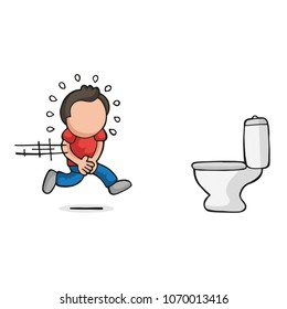 Vector handdrawn cartoon illustration of man running to pee on toilet bowl.