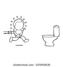 Vector hand-drawn cartoon illustration of man running to pee on toilet bowl.