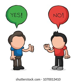 Vector hand-drawn cartoon illustration of two men arguing yes no in speech bubbles.