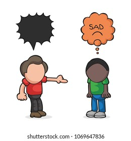 Vector hand-drawn cartoon illustration of white man racist to black man. Stop racism.