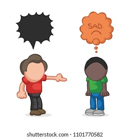 Vector hand-drawn cartoon illustration of white man racist to black man. Stop racism.