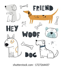 Vector hand-drawn color childish simple set with cute dogs, bones and lettering in Scandinavian style on a white background. Set with dogs for kids. Dogs print. Cute baby animals.