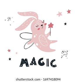Vector hand-drawn color children's illustration, poster, print with cute pink bunny fairy with a magic wand and wings in a Scandinavian style on a white background.