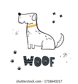 Vector hand-drawn color children's illustration, poster, print with a cute doggy and lettering Woof in Scandinavian style on a white background. Cute baby animals. Dog. Pets. Baby print.