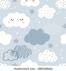 Vector hand-drawn color seamless childish simple pattern for kids with cute clouds and stars in Scandinavian style on a blue background. Baby pattern with clouds. Fabric design. Wallpaper.