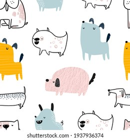 Vector hand-drawn color seamless repeating childish simple pattern with cute dogs in Scandinavian style on a white background. Trendy scandinavian vector background. Dogs print. Cute animals. Pets.