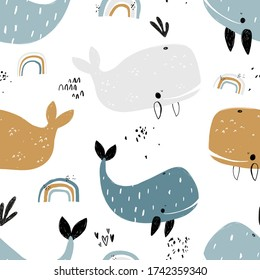 Vector hand-drawn colored childish seamless repeating simple flat pattern with whales and rainbow in scandinavian style on a white background. Cute baby animals. Pattern for kids with whales.