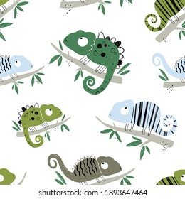 Vector hand-drawn colored childish seamless repeating simple flat pattern with chameleons in scandinavian style on a white background. Cute baby animals. Pattern for kids with chameleon. Lizard.