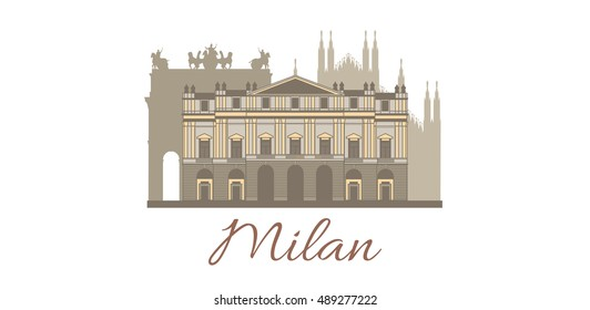 vector hand-drawn colored template with famous landmarks of Milan
