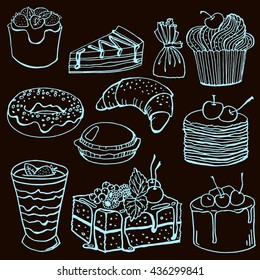 vector handdrawn desserts