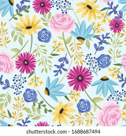 Vector handdrawn floral pattern, delicate flowers, yellow, blue and pink flowers, sunflower, rose, daisy, for greeting cards and fabric