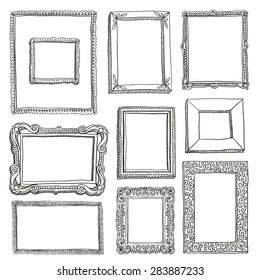 Vector hand-drawn frames