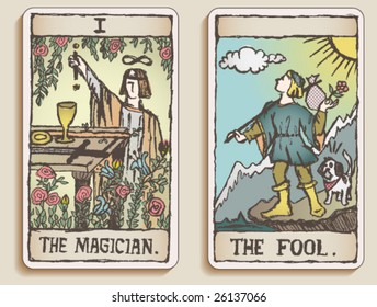 VECTOR Hand-drawn, grungy, textured Tarot cards depicting the Magician and the Fool.