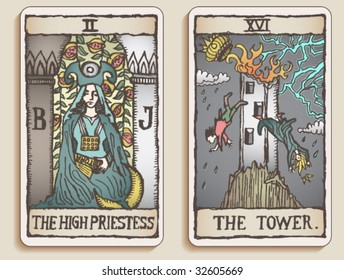 VECTOR Hand-drawn, grungy, textured Tarot cards depicting the High Priestess and the Tower.