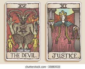 VECTOR Hand-drawn, grungy, textured Tarot cards depicting The Devil and Justice.