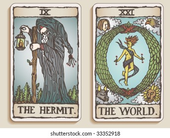 VECTOR Hand-drawn, grungy, textured Tarot cards depicting The Hermit and The World.
