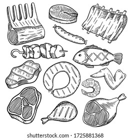 Vector hand-drawn illustration of a barbecue grill set of different meat: ribs, steaks, lamb, wing, fish, salmon, shrimp, hand-drawn in doodle style, great elements.