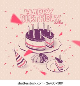 Vector Hand-drawn Illustration of Birthday Cake with Candles