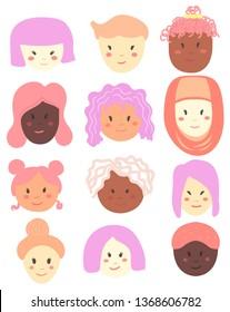 Vector hand-drawn illustration. Cute diverse women. Vector illustration