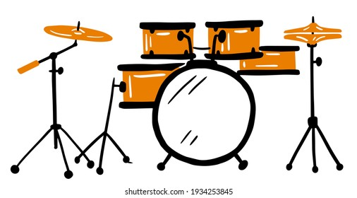 Vector hand-drawn illustration of a drum kit. isolated on white. drum, doodle style. hand drawing