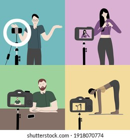 Vector handdrawn illustration of equipment for a vlogging. Girls and boys bloggers making records to camera. Beauty, sport, fitness, technology, entertainment and educational blogging concept