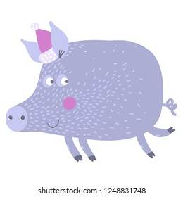 Vector hand-drawn illustration with pig in a village. Farm animal.