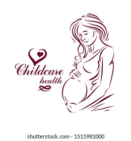 Vector hand-drawn illustration of pregnant elegant woman expecting baby, sketch. Maternity ward marketing poster