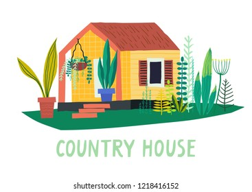 Vector hand-drawn illustration of private wooden country house with various plants.