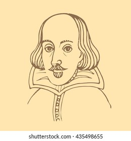 Vector hand-drawn illustration of William Shakespeare portrait isolated on sepia background