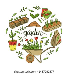 Vector hand-drawn illustrations of gardening. Growing flowers and plants. Images for gardener farm.