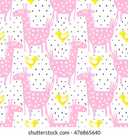 Vector hand-drawn ink seamless pattern with  cute cartoon doodle giraffe. african animal