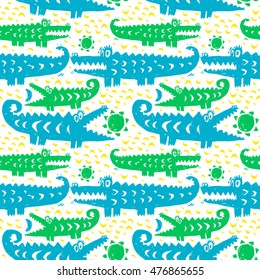 Vector hand-drawn ink seamless pattern with  cute cartoon doodle crocodile. african animal