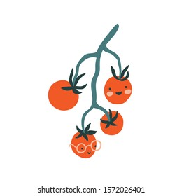 Vector hand-drawn isolated tomatoes branch with funny faces. Cute veggies on the white background.  Fruit illustration.