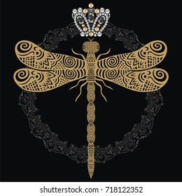 Vector hand-drawn lacy dragonfly in ornate doodle and jewelry crown vintage pattern. Victorian heraldry emblem embroidery gold medal badge. It can be used as a tattoo, embroidery, print clothes, bags