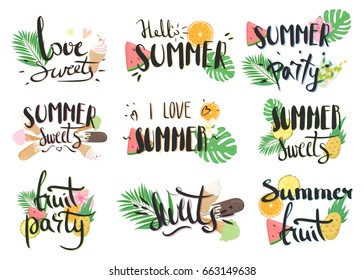 Vector hand-drawn lettering with illustrations of leaves of palm trees, fruits, cocktails, etc. Summer labels, logos, hand drawn tags and elements set for summer holiday. Summer sweets and ice cream