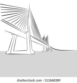 Vector hand-drawn Oresund Bridge, Sweden, Outline Artwork Sketch